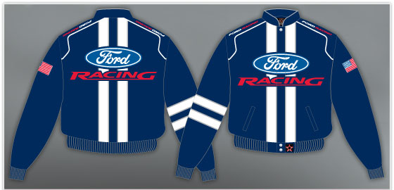 Manteau Ford racing bleu brodé course